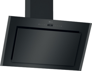 N 90, Veggmontert ventilator, 90 cm, Klart glass m svart trykk D96IMW1G1