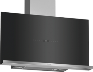 N 90, Veggmontert ventilator, 90 cm, Klart glass m svart trykk D95FRW1S1